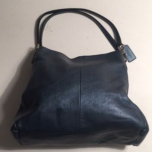 Coach denim blue Park Leather Two Pocket Tote Bag